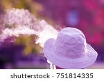 man in hat with smoke and... | Shutterstock . vector #751814335