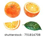 orange  slice of orange and... | Shutterstock . vector #751816708