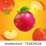 red apple on juice background... | Shutterstock .eps vector #751824226
