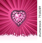 HEART OF LOVE / Diamond heart / vector background  with space for your text - stock vector