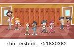 cute cartoon children and... | Shutterstock .eps vector #751830382