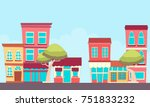a small town street with shops. ... | Shutterstock .eps vector #751833232