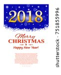 christmas flyer. gold numbers... | Shutterstock .eps vector #751855996