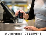 saleswoman   shopgirl giving a... | Shutterstock . vector #751859545