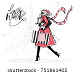 christmas and new year fashion... | Shutterstock .eps vector #751861402