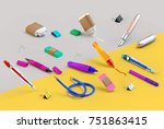 3d rendering of paint and write ...   Shutterstock . vector #751863415