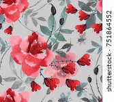 seamless pattern with roses....   Shutterstock . vector #751864552