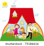 family in front of their house | Shutterstock .eps vector #75186616