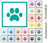 paw prints flat color icons... | Shutterstock .eps vector #751903822