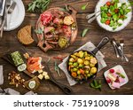 flat lay of delicious dinner... | Shutterstock . vector #751910098