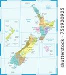 new zealand map   high detailed ... | Shutterstock .eps vector #751920925