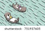 Two Otters Floating On Water...