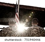 american soldiers and us flag... | Shutterstock . vector #751940446