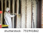 worker spraying closed cell...   Shutterstock . vector #751941862