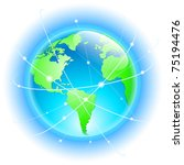globe with wired orbits of... | Shutterstock .eps vector #75194476
