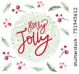 christmas card design with...   Shutterstock . vector #751945612