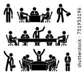 stick figure business meeting... | Shutterstock . vector #751953196