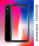 realistic black slim smartphone ... | Shutterstock .eps vector #751955248