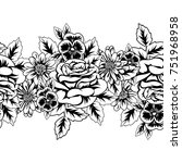 seamless monochrome pattern of... | Shutterstock .eps vector #751968958