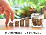 coins setting up stairs to...   Shutterstock . vector #751975282