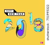 happy new year 2018 greeting... | Shutterstock .eps vector #751995322