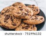 cookies with dark chocolate... | Shutterstock . vector #751996132