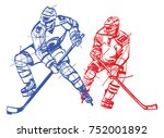hokey players sketch  | Shutterstock .eps vector #752001892