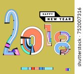 happy new year 2018 greeting... | Shutterstock .eps vector #752007316