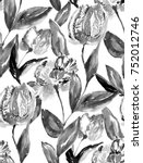 watercolor tulip background... | Shutterstock . vector #752012746