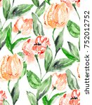 cute repeating tulip pattern... | Shutterstock . vector #752012752