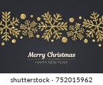 vector merry christmas happy... | Shutterstock .eps vector #752015962