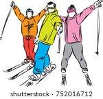 winter sport snowboard and ski... | Shutterstock .eps vector #752016712