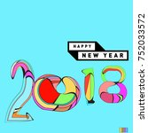 happy new year 2018 greeting... | Shutterstock .eps vector #752033572