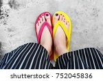 red and yellow flip flops....