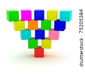 Inverted pyramid from toy cubes - stock photo