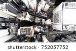 aerial city view with...   Shutterstock . vector #752057752