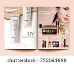 cosmetic magazine template ... | Shutterstock .eps vector #752061898