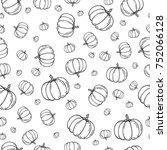 Funny Pumpkin Sketch Seamless...