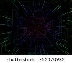 digital tunnel matrix space... | Shutterstock . vector #752070982