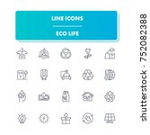 68. line icons set. eco life...