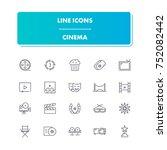 62. line icons set. cinema pack....