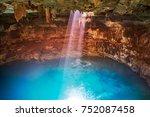 cenote samula sinkhole light... | Shutterstock . vector #752087458