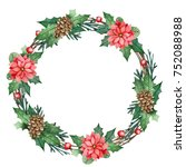 christmas wreath with flowers ... | Shutterstock . vector #752088988