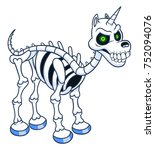 funny cartoon unicorn skeleton | Shutterstock .eps vector #752094076