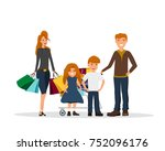 family with shopping bags.... | Shutterstock .eps vector #752096176