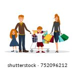 family with shopping bags.... | Shutterstock .eps vector #752096212