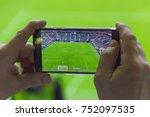 selective focus on hands using... | Shutterstock . vector #752097535