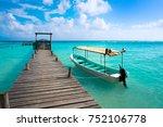 caribbean beach pier in costa... | Shutterstock . vector #752106778
