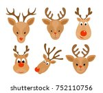set of christmas deer. head of... | Shutterstock .eps vector #752110756