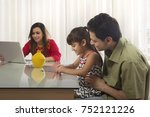 father and daughter counting... | Shutterstock . vector #752121226